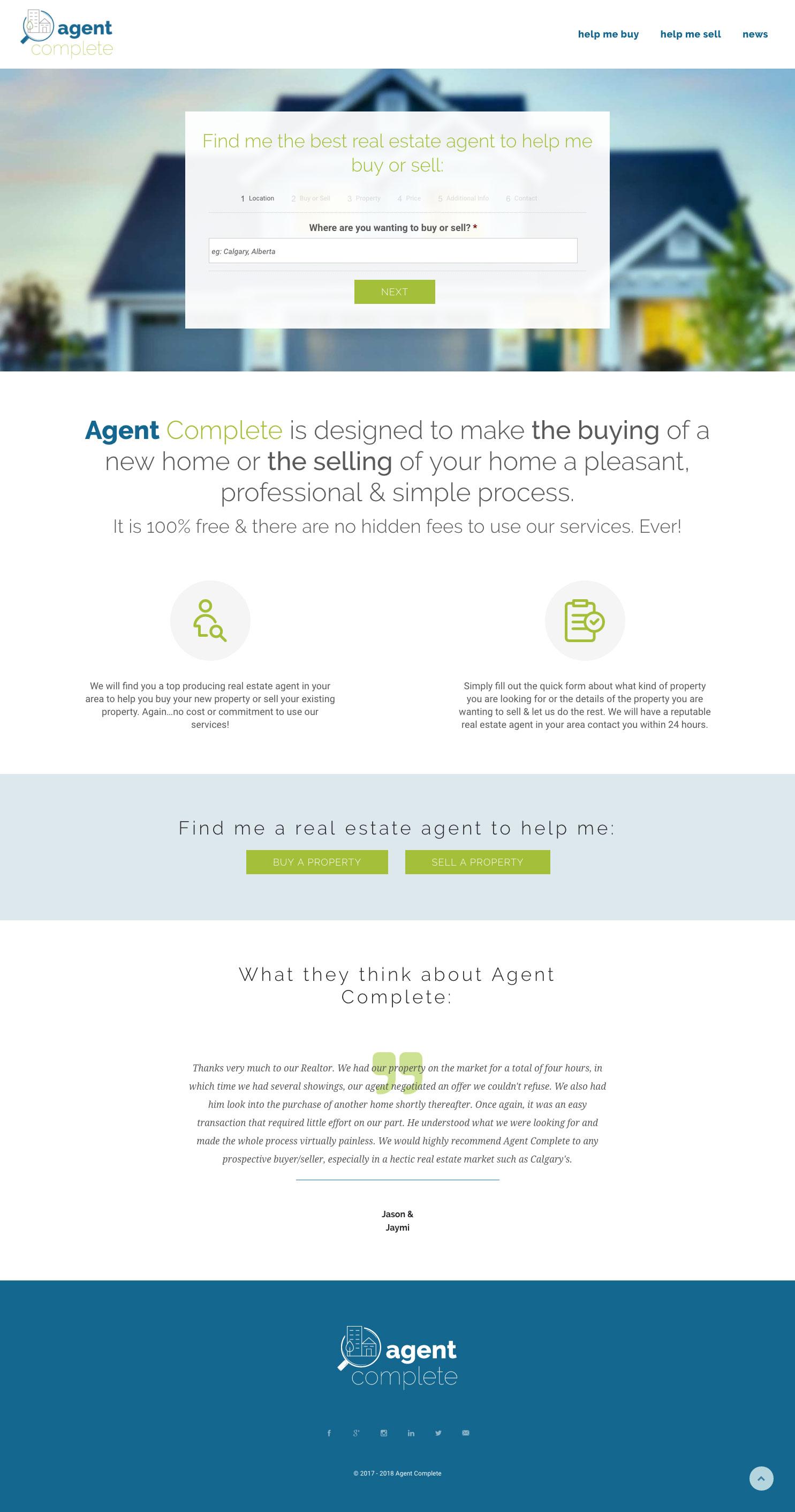 Agent Complete homepage design, graphic design, web development, wordpress