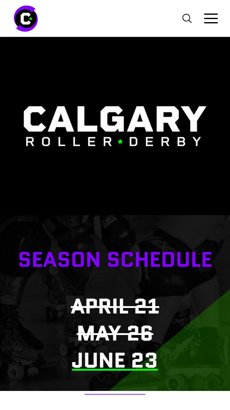 Calgary Roller Derby website design, graphic design, web development, wordpress, responsive