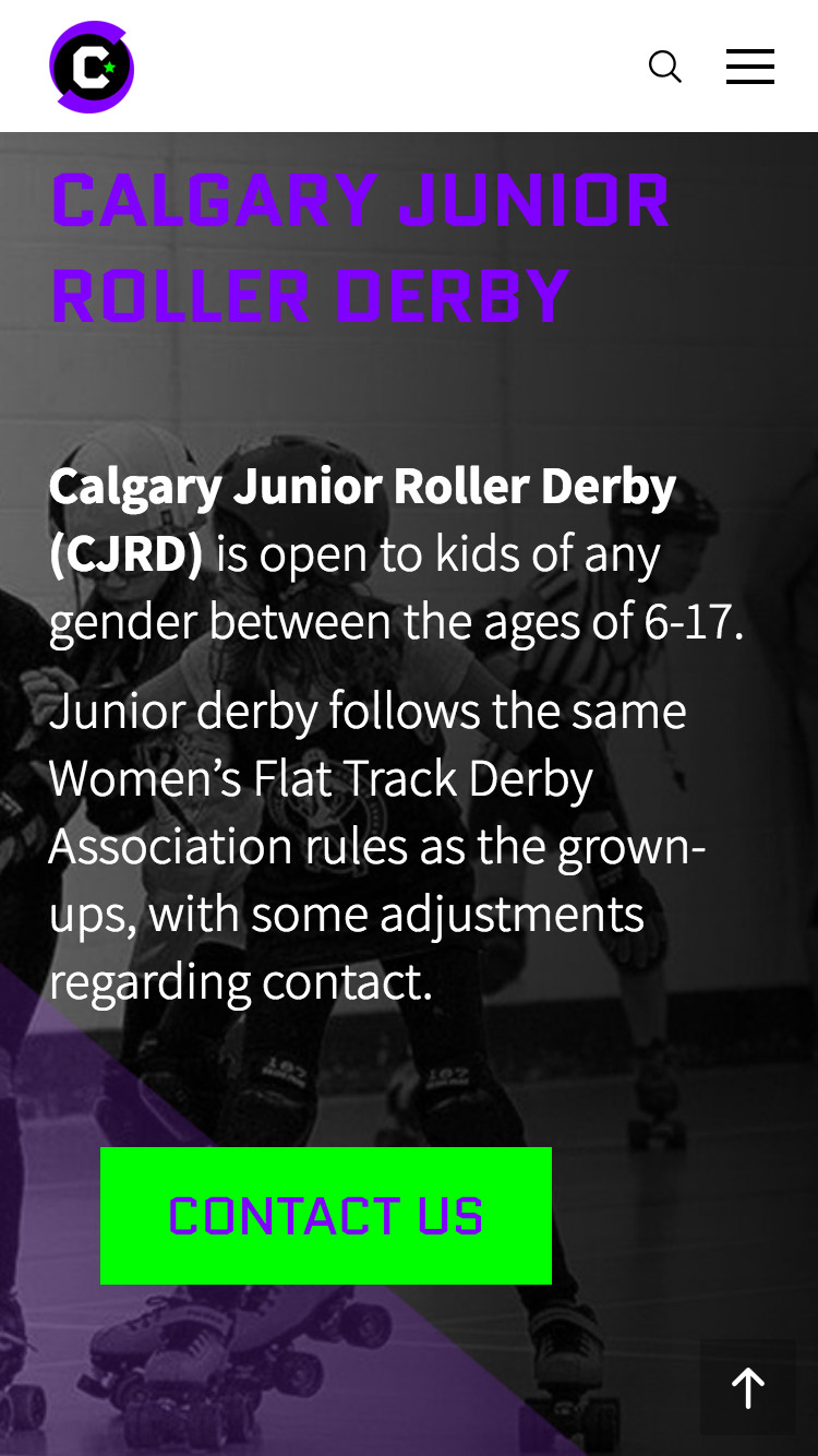 Calgary Roller Derby website design, graphic design, web development, wordpress
