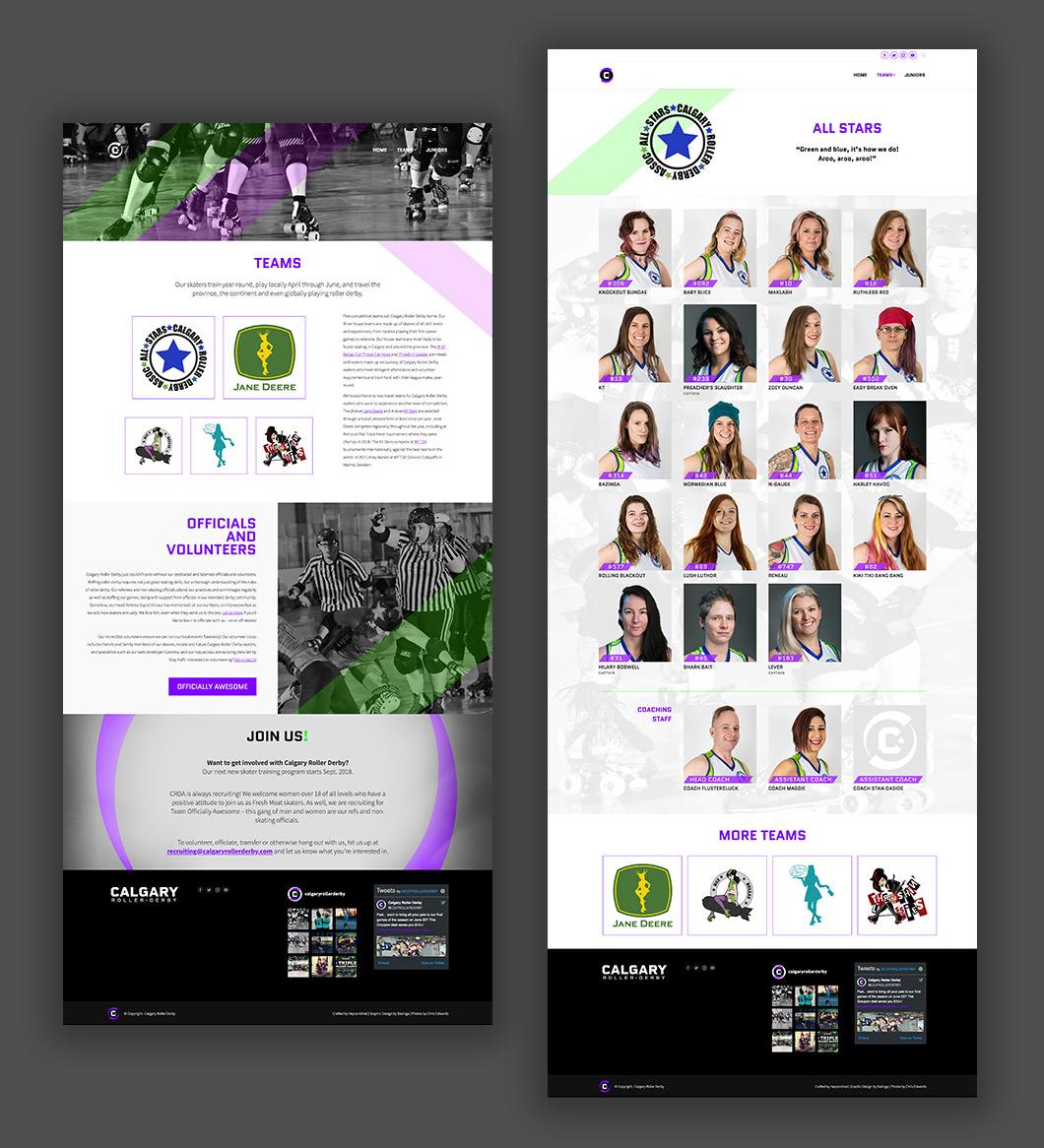 Calgary Roller Derby website design, graphic design, web development, wordpress, teams pages