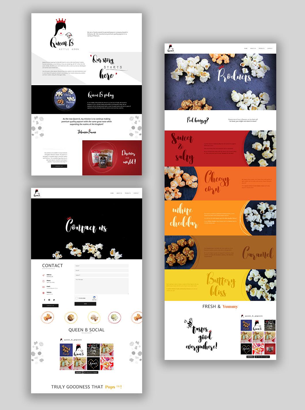 Queen B website design, graphic design, web development, wordpress