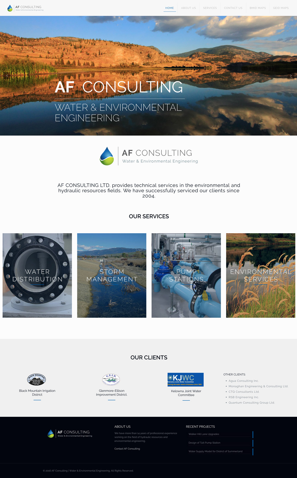 AF Consulting website design, graphic design, web development, wordpress