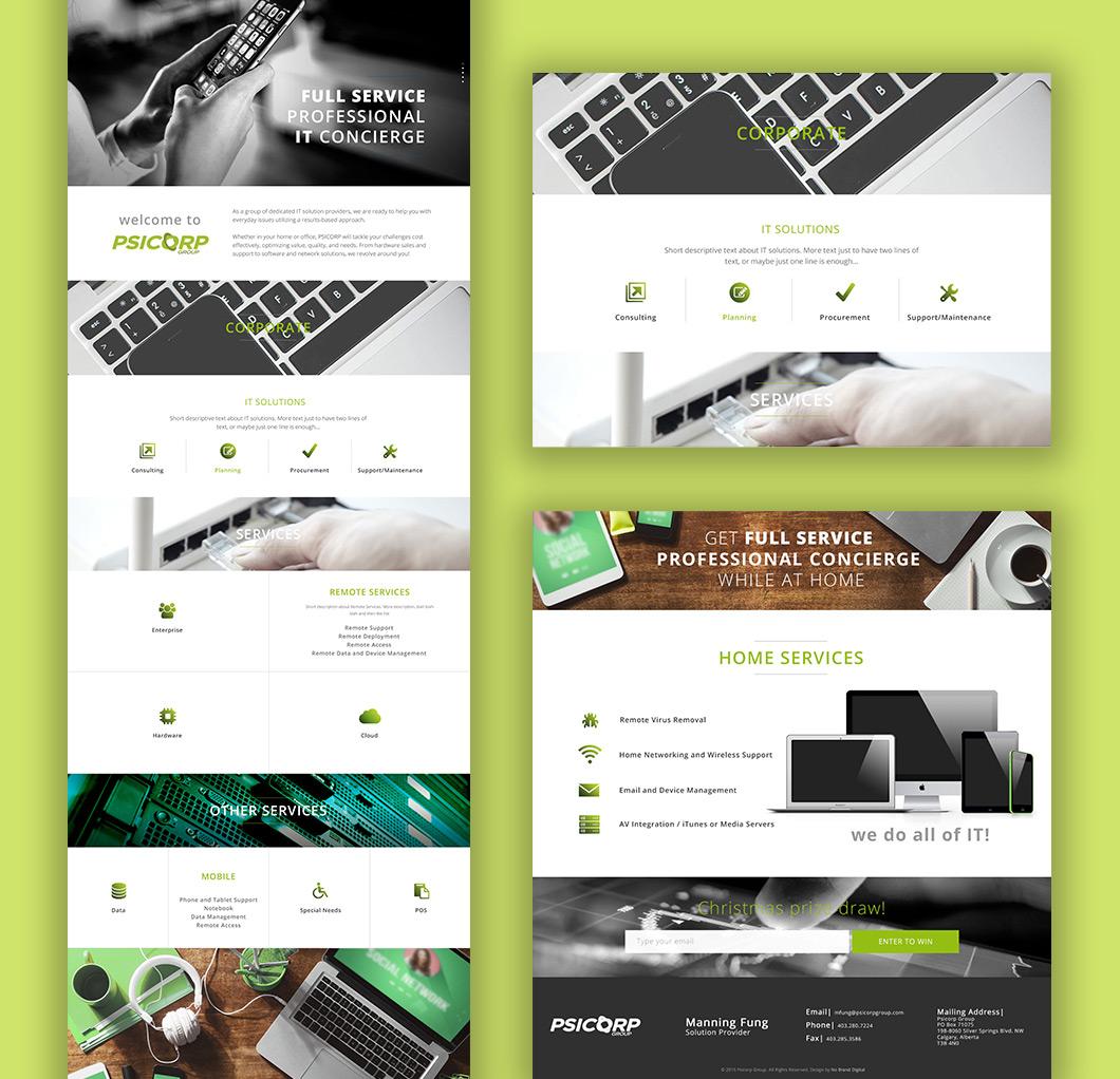 Psicorp website design, graphic design