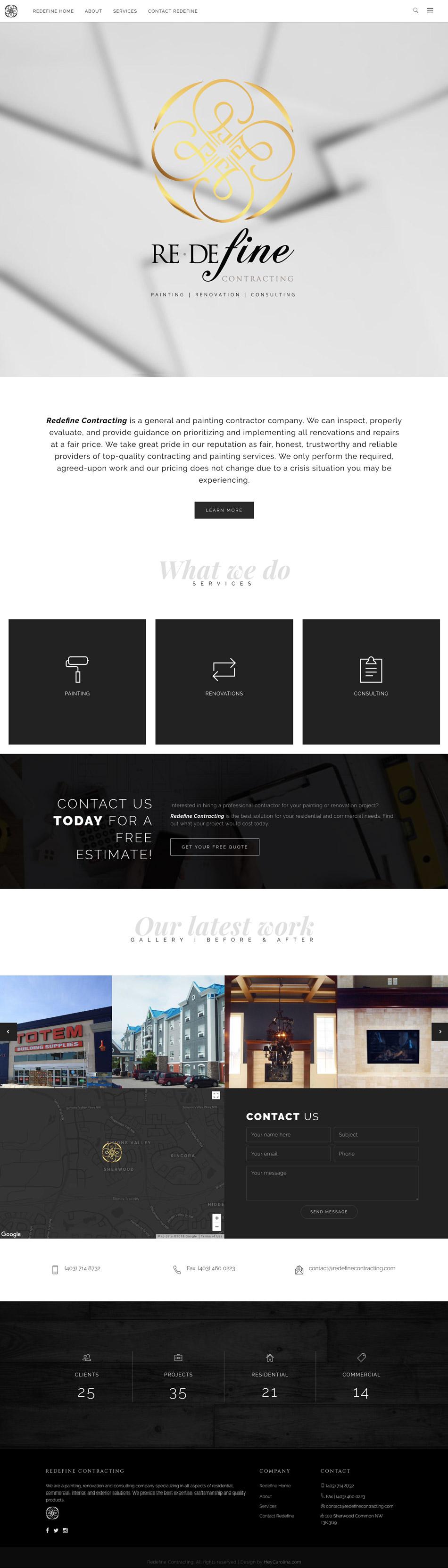 Redefine Contracting website design, graphic design, web development, wordpress