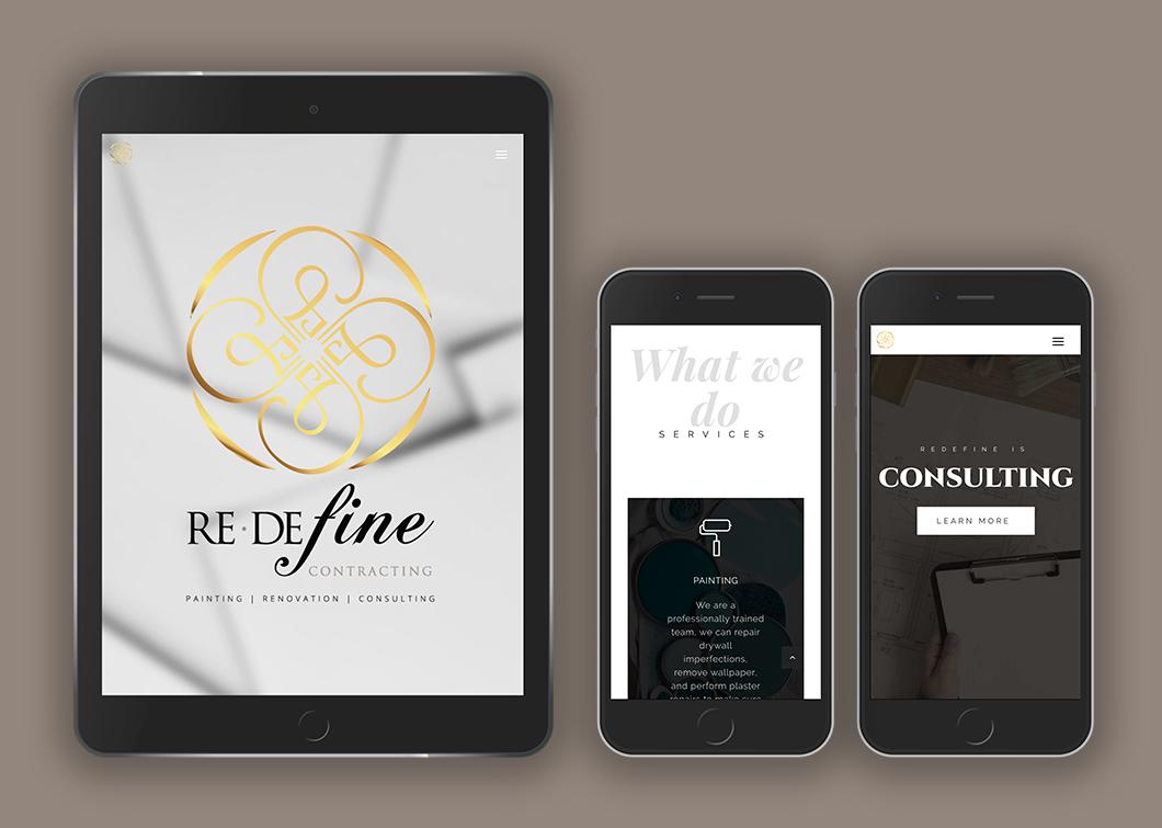 Redefine Contracting website design, graphic design, web development, wordpress, responsive