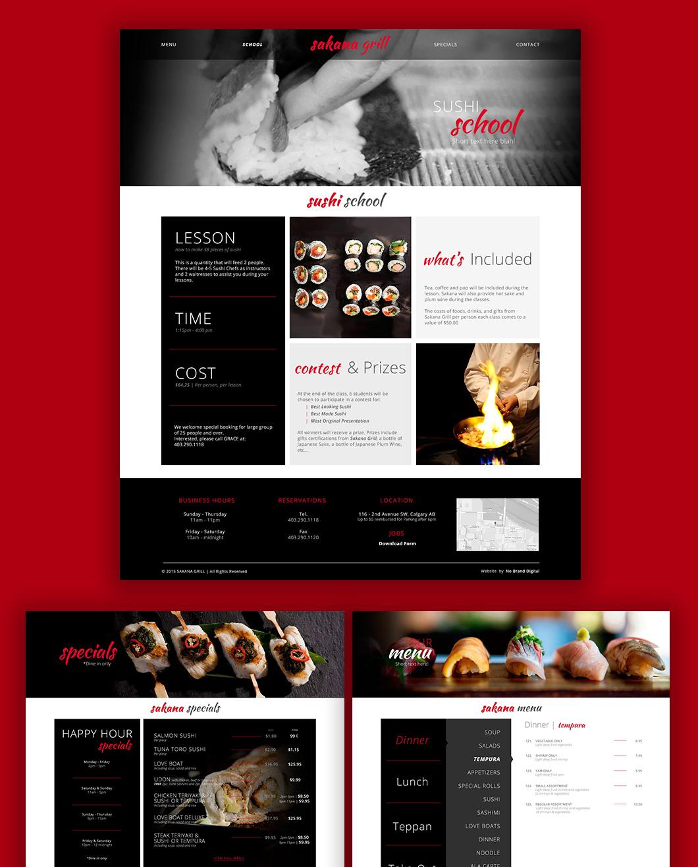 Sakana Grill website design, graphic design